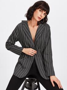Tied Back Striped Peplum Blazer