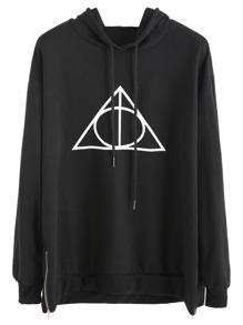 Black Geo Print Zip Side Hooded Sweatshirt