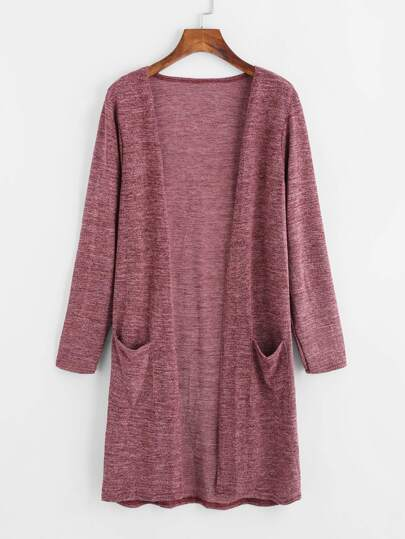 Double Pockets Slub Longline Cardigan