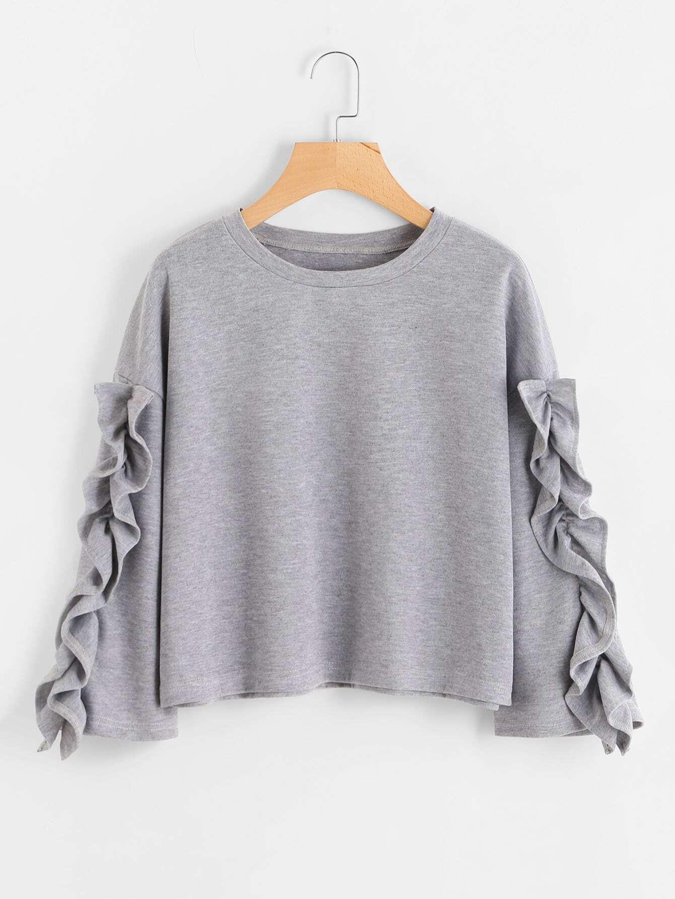 Ruffle Sleeve Drop Shoulder Sweatshirt drop shoulder frilled sleeve sweatshirt