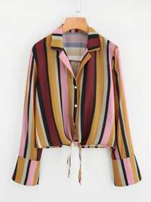 Knot Front Bell Cuff Striped Blouse