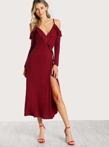 Cold Shoulder Frilled Surplice Wrap Dress