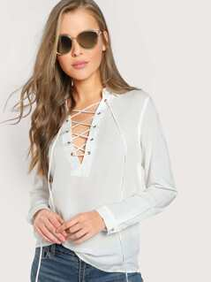 Front Lace Up Solid Top WHITE