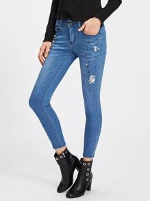Beaded Ripped Detail Skinny Jeans