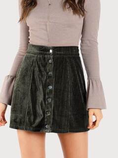 Button Up Ribbed Velvet Skirt