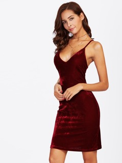 Lace Up Back Velvet Cami Dress