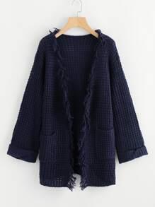 Fringe Trim Chunky Knit Cardigan
