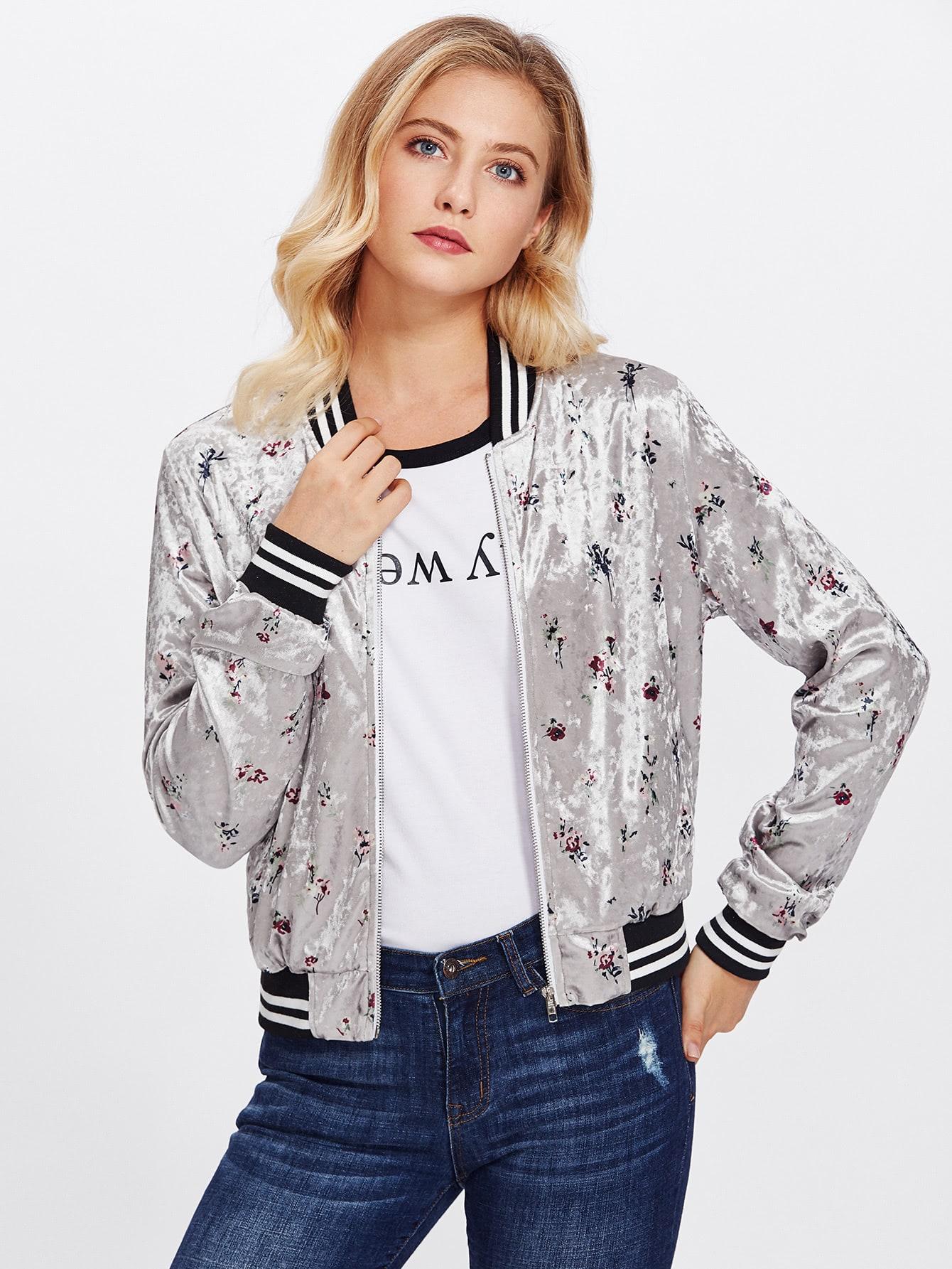Striped Trim Zip Up Floral Bomber Jacket zip up jacket