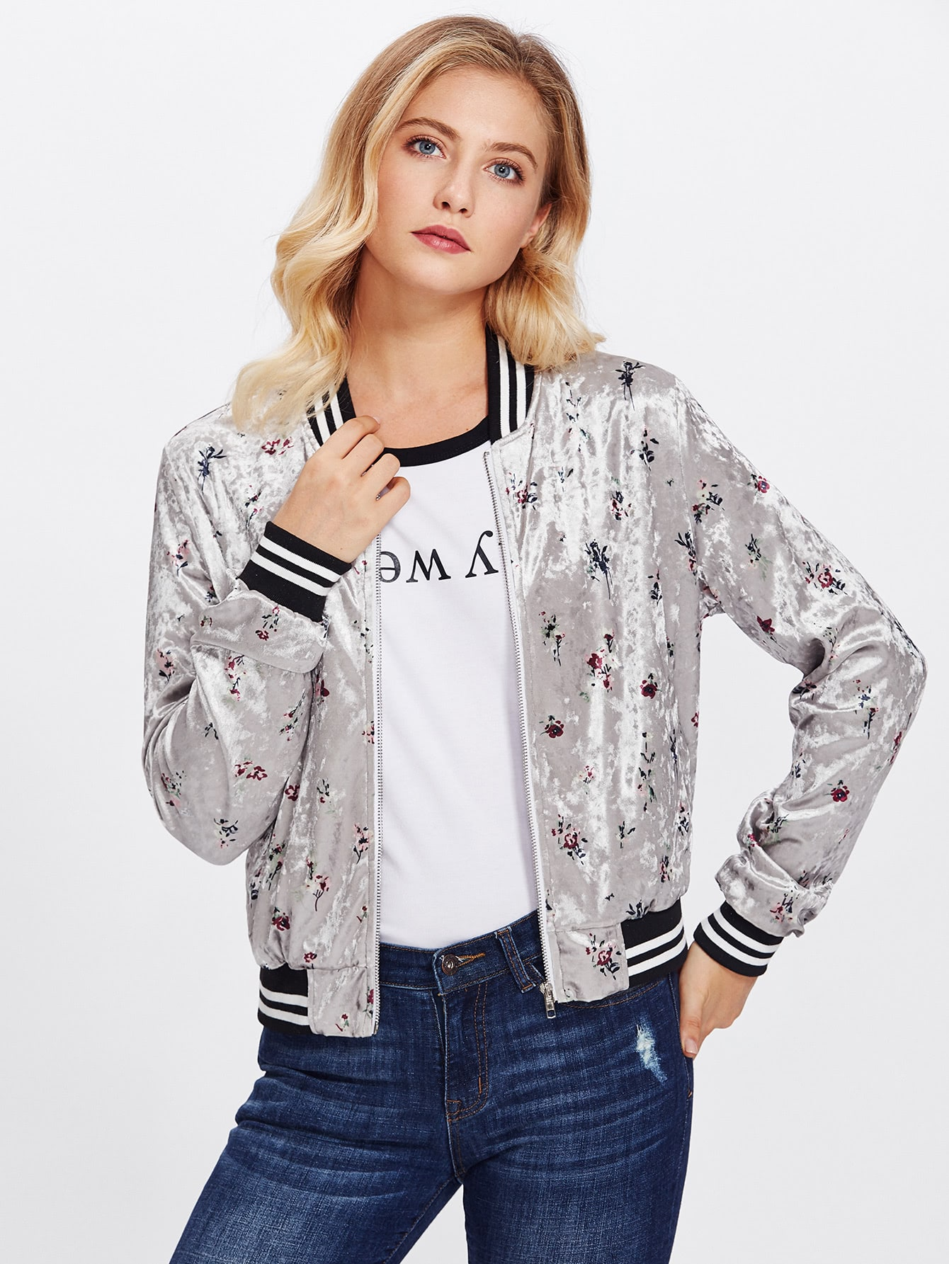 Striped Trim Zip Up Floral Bomber Jacket