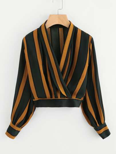 Lantern Sleeve Contrast Striped Wrap Top