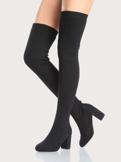 Round Toe Chunky Heel Sock Boot BLACK