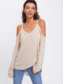 Open Shoulder Knit Sweater