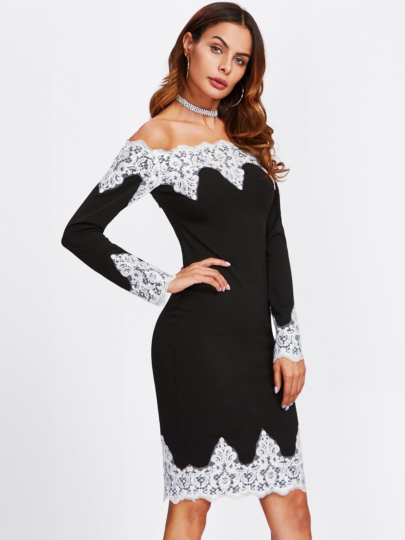 Contrast Lace Trim Off Shoulder Pencil Dress maison jules new junior s small s pink combo lace crepe contrast trim dress $89
