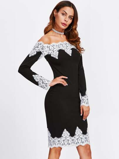 Contrast Lace Trim Off Shoulder Pencil Dress