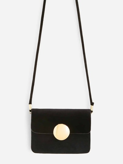 Round Magnetic Button Front Flap Crossbody Bag