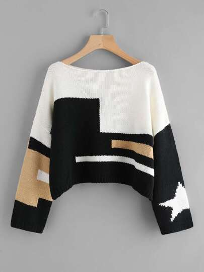 Drop Shoulder Cut And Sew Textured Knit Sweater
