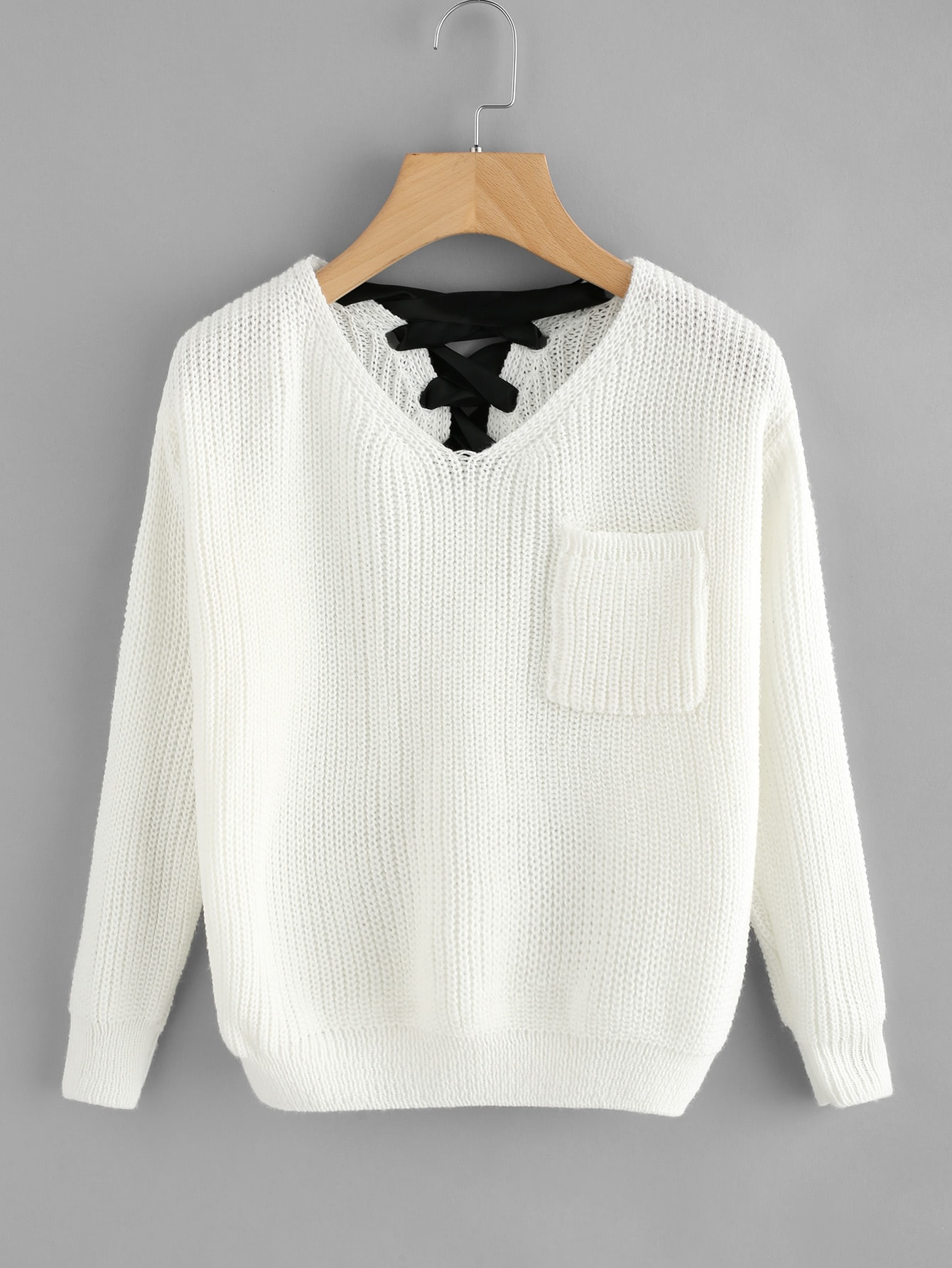 V Neckline Lace Up Back Texture Knit Sweater lace up sleeve waffle knit sweater