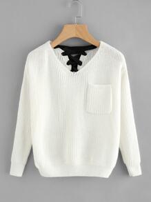 Pull tricoté texture avec lacet au dos avec V col