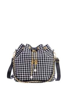 Houndstooth Print Tassel Drawstring Bucket Bag