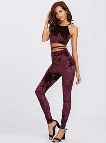 Crisscross Crushed Velvet Cami Crop Top & Pants Set
