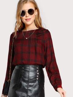 Plaid Print Long Sleeve Ruffle Accent Top RED