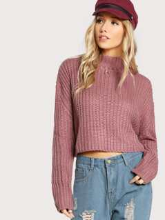 Ribbed Mock Neck Crop Sweater MAUVE