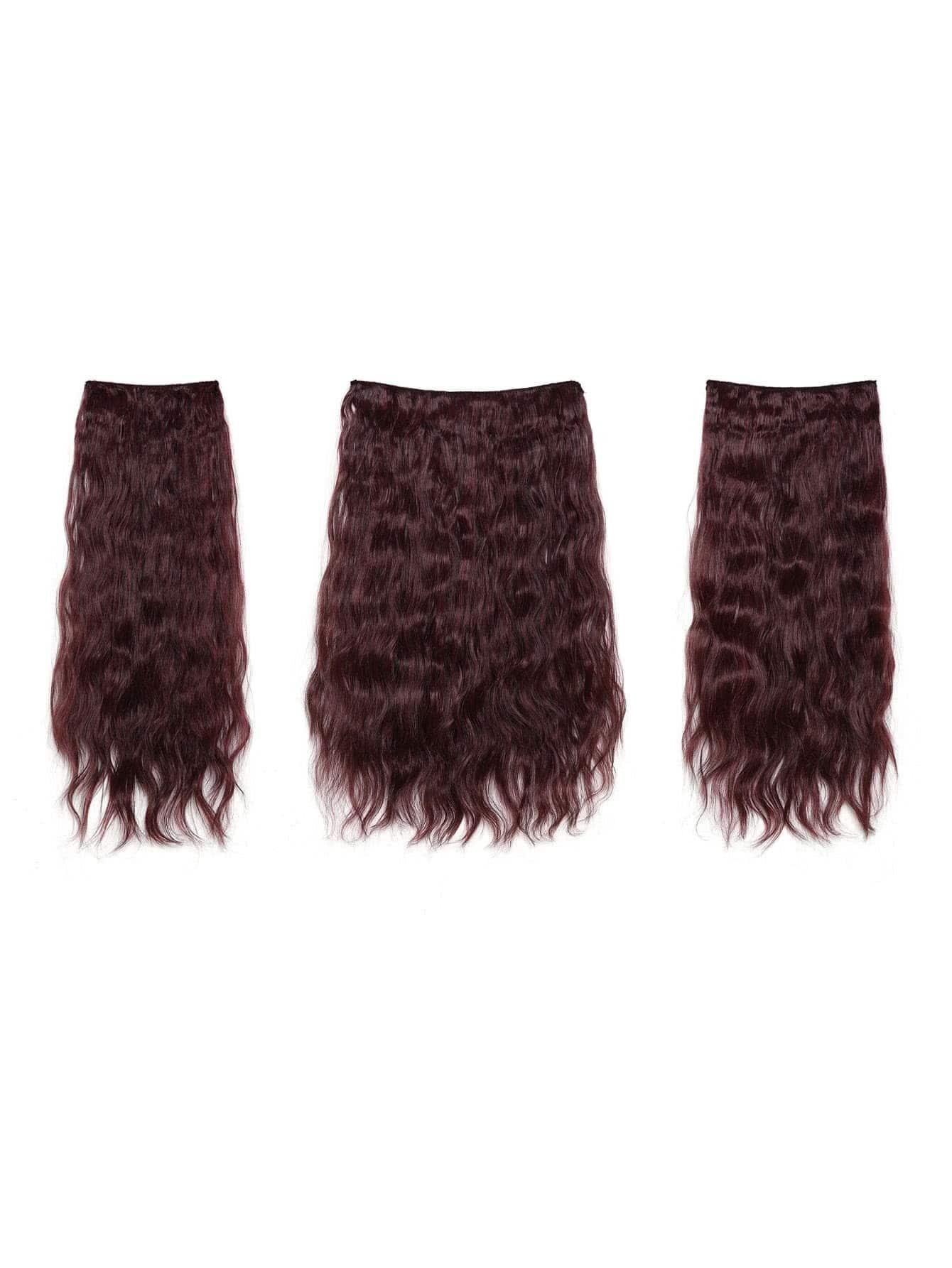 цена на Black & Burgundy Clip In Curly Hair Extension 3pcs