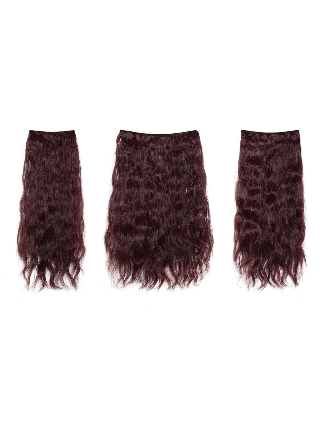 Image of Black & Burgundy Clip In Curly Hair Extension 3pcs