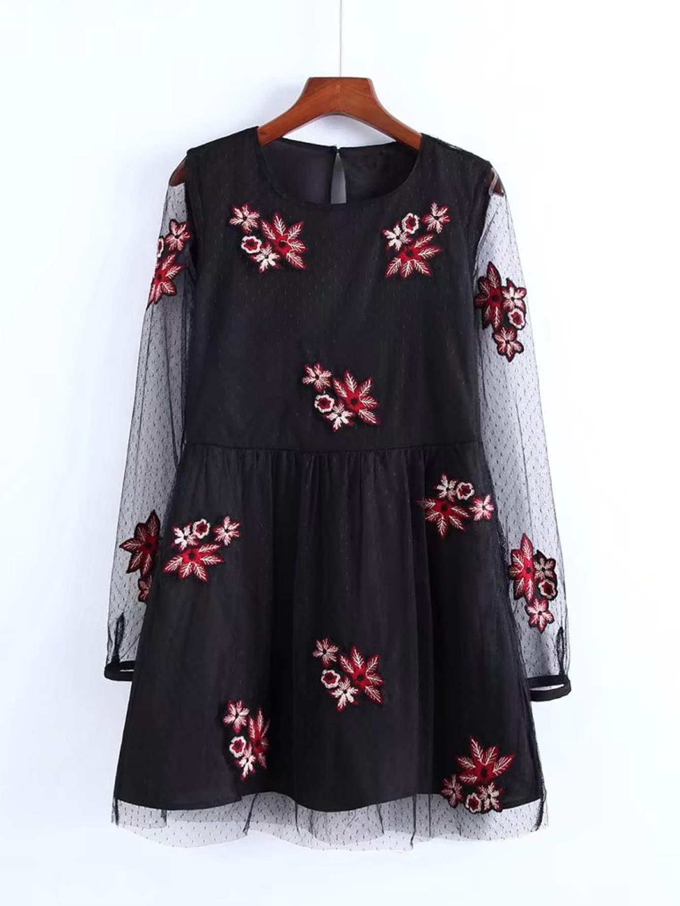 Embroidery Flower Mesh Dress