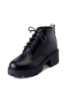 Lace Up PU Platform Ankle Boots
