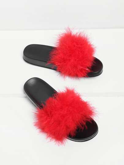 Faux Fur Design Slip On Sandals