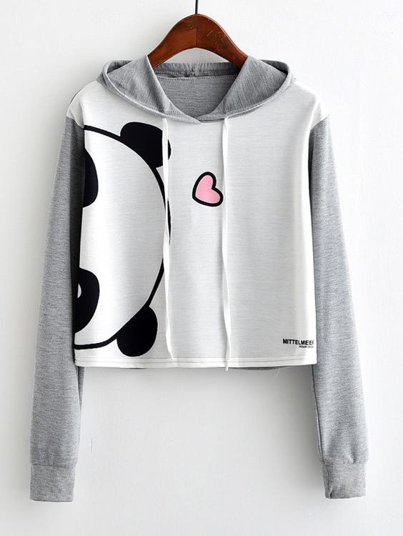цены Panda Print Contrast Sleeve Hoodie