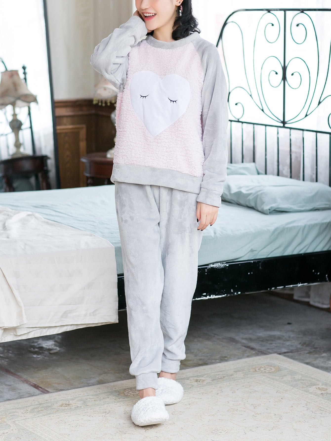 Contrast Faux Fleece Embroidered Plush Pullover & Pants Pj Set