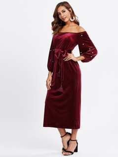 Pearl Beading Lantern Sleeve Velvet Bardot Dress