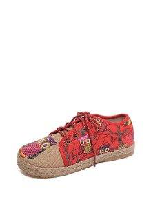 Two Tone Owl Embroidered Flats