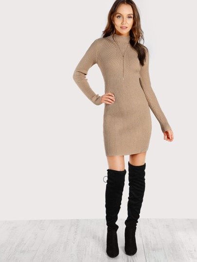 Turtleneck Ribbed Bodycon Dress MOCHA