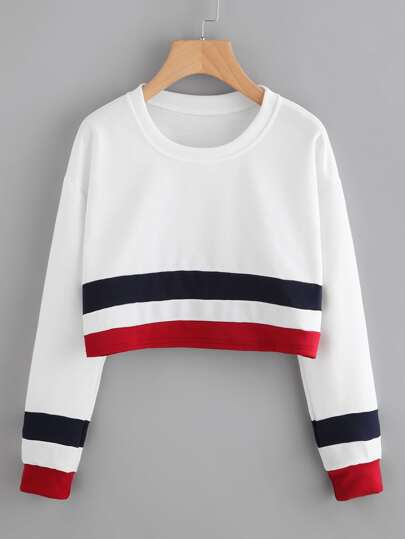 Striped Trim Crop Sweatshirt