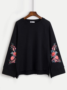 Embroidery Split Sleeve Raglan Pullover
