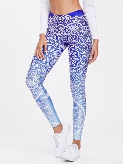 Leggings moulant imprimé porcelaine