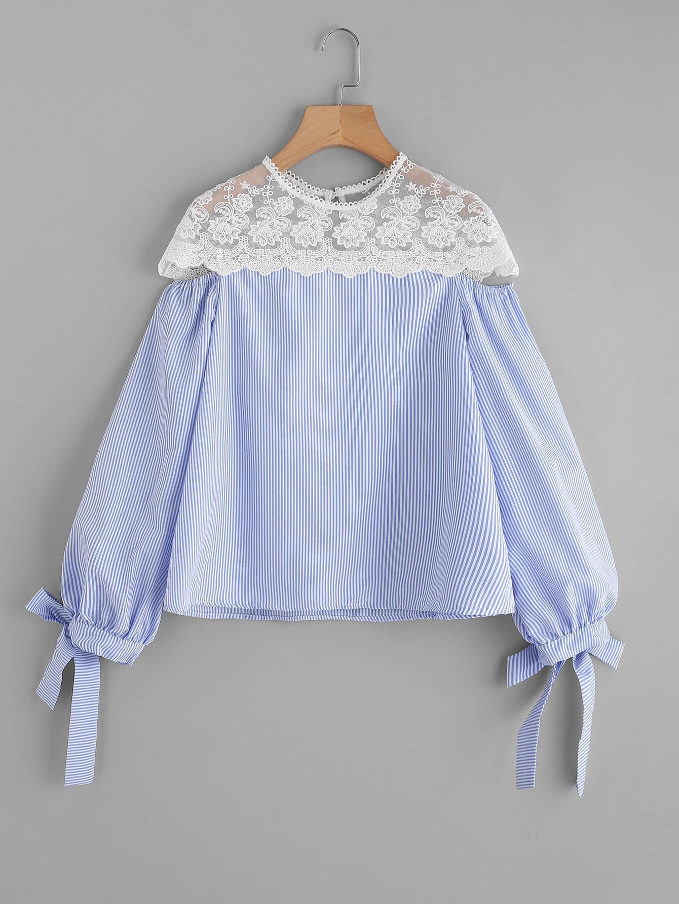 Contrast Embroidered Mesh Yoke Bow Tie Striped Blouse contrast embroidered mesh yoke bow tie striped blouse