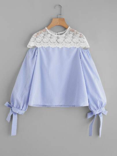 Contrast Embroidered Mesh Yoke Bow Tie Striped Blouse