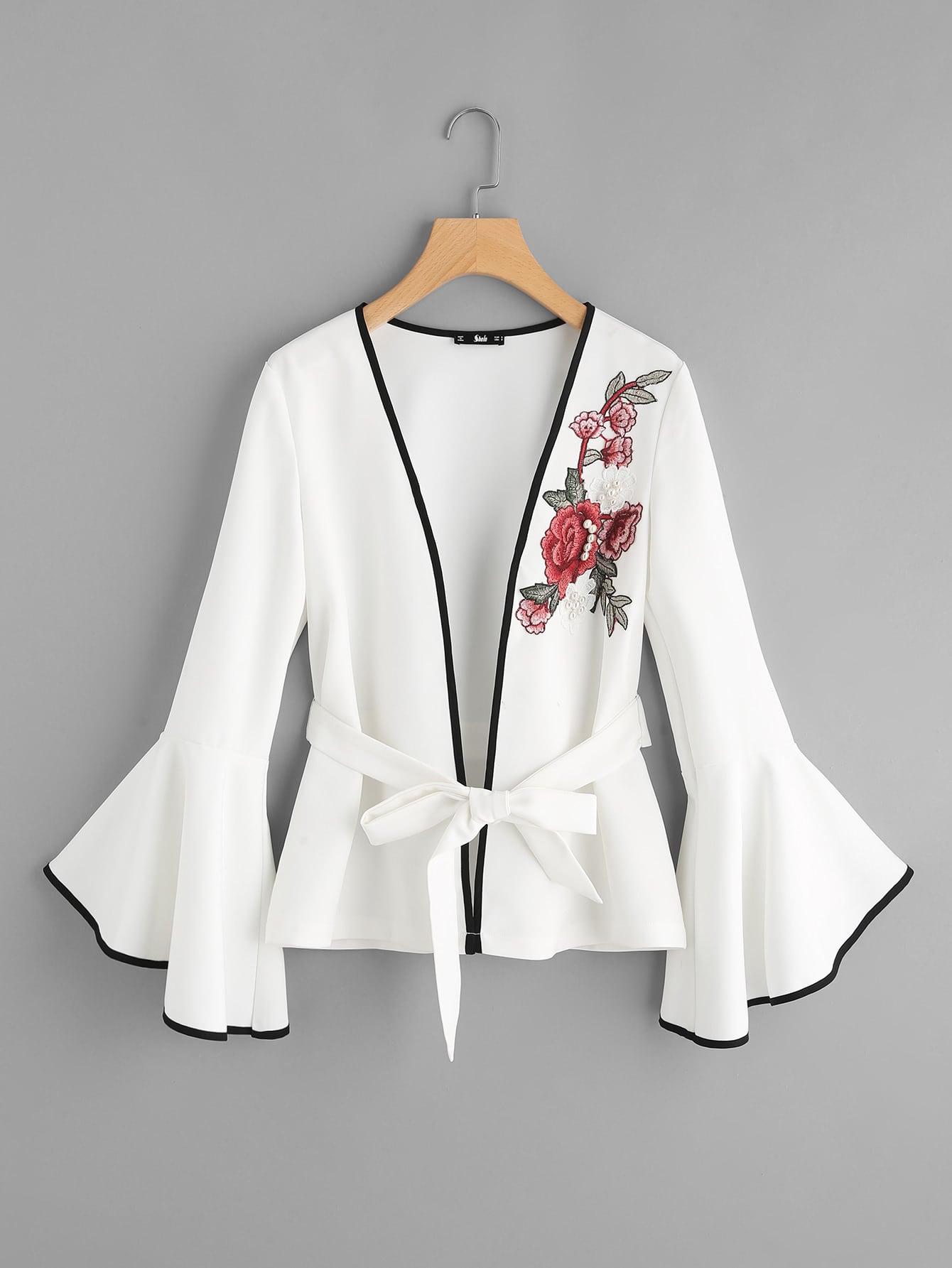 Pearl Embellishing Rose Patch Fluted Sleeve Ringer Blazer v notch pearl leaf chain detail fluted sleeve dress
