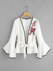 Pearl Embellishing Rose Patch Fluted Sleeve Ringer Blazer