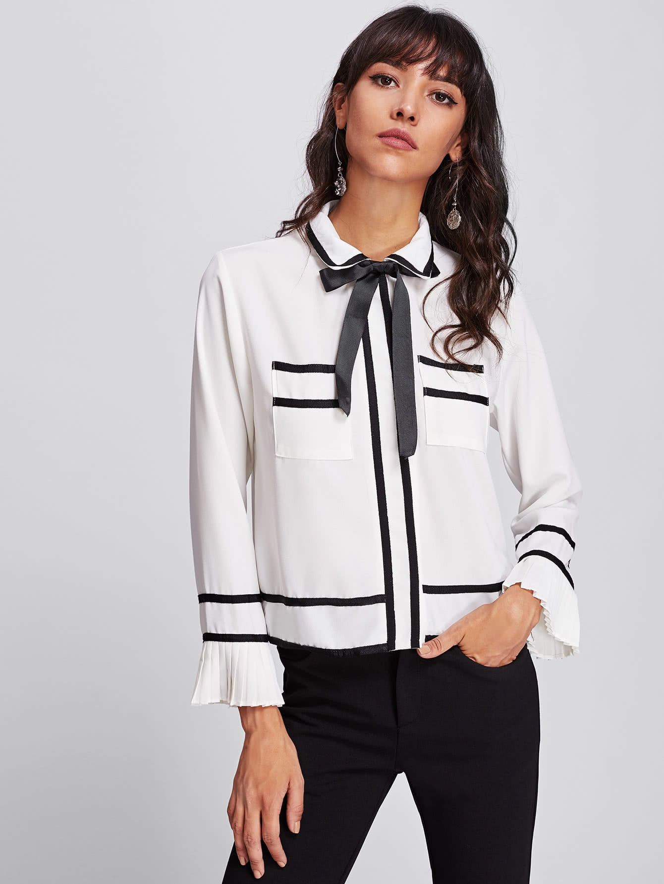 Contrast Trim Ruffle Cuff Bow Tie Neck Shirt bow tie cuff contrast patch pocket detail shirt