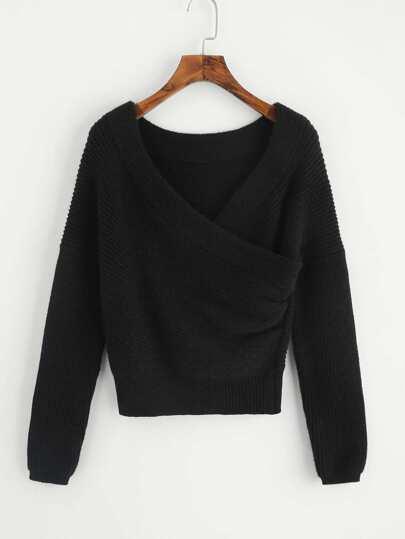 Drop Shoulder Surplice Wrap Sweater