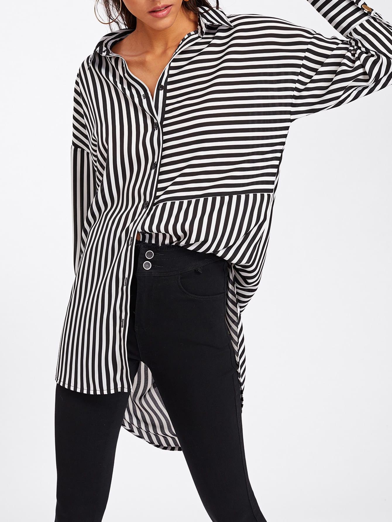 Dolphin Hem Mixed Stripe Shirt stepped hem mixed stripe shirt