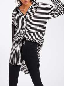 Dolphin Hem Mixed Stripe Shirt
