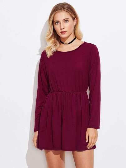 Scoop Neck Pleated Knit Dress