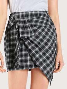 Plaid Tied Asymmetric Hem Skirt