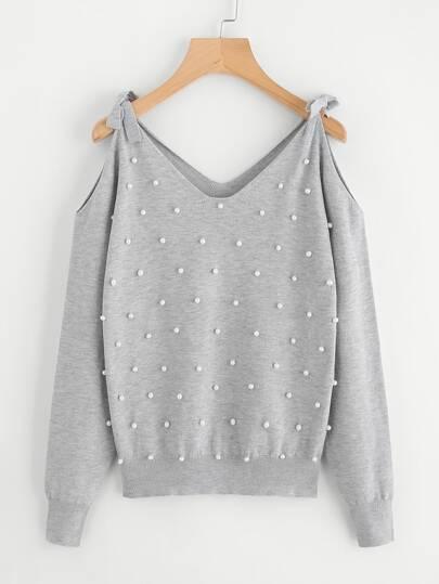 Jersey con lazo para atar y perlas